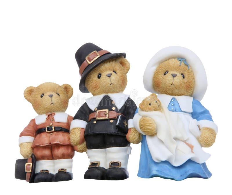 Famiglia dell'orso del pellegrino di ringraziamento fotografie stock