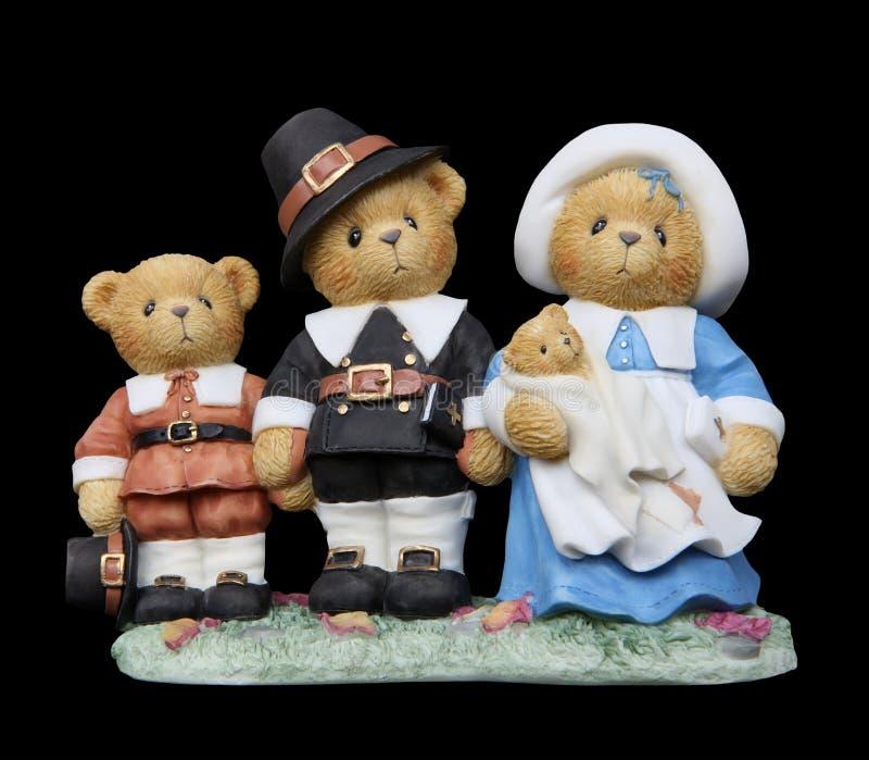 Famiglia dell'orso del pellegrino di ringraziamento fotografia stock libera da diritti