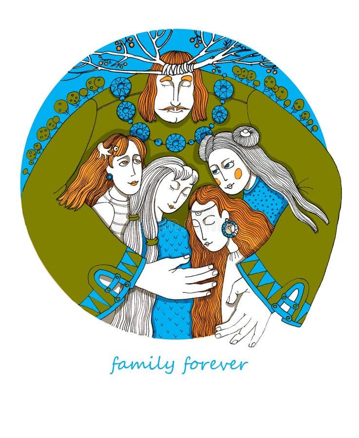 famiglia della cartolina per sempre fotografia stock