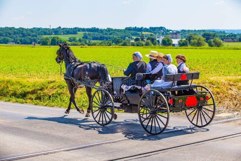 Famiglia della contea di Lancaster Amish immagine stock libera da diritti