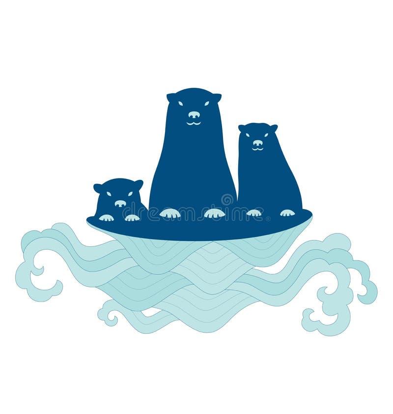 Famiglia della lontra di mare illustrazione vettoriale