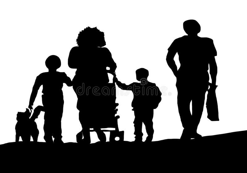 Famiglia della siluetta che cammina nella via illustrazione di stock