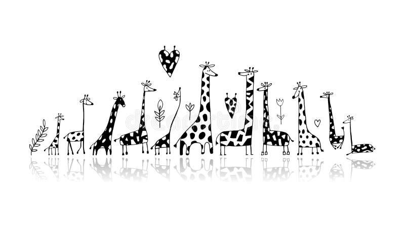 Famiglia delle giraffe, schizzo per la vostra progettazione illustrazione di stock