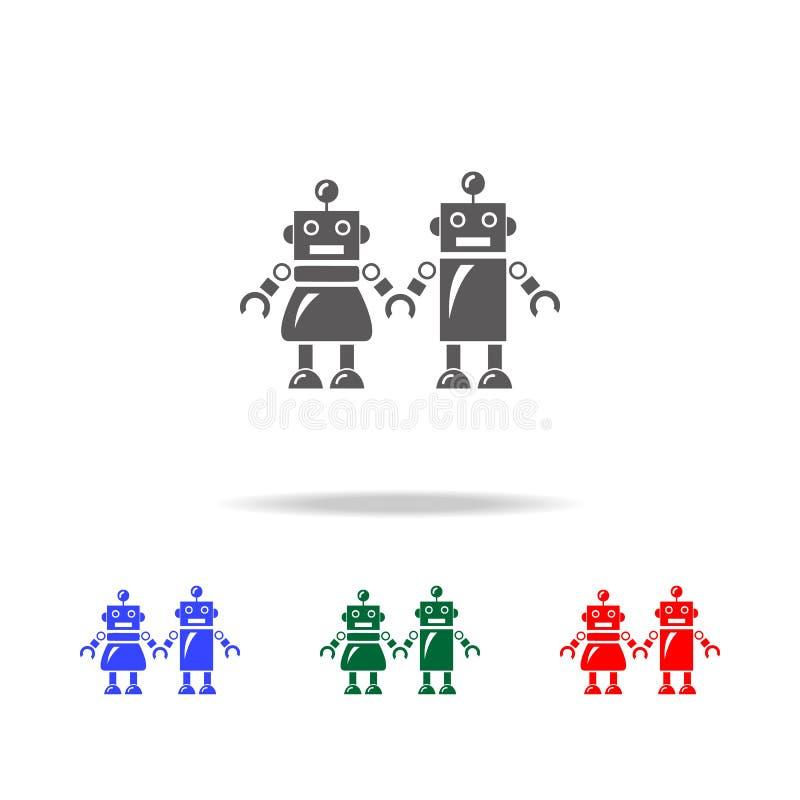 famiglia delle icone dei robot Elementi dei robot nelle multi icone colorate Icona premio di progettazione grafica di qualità Ico illustrazione di stock