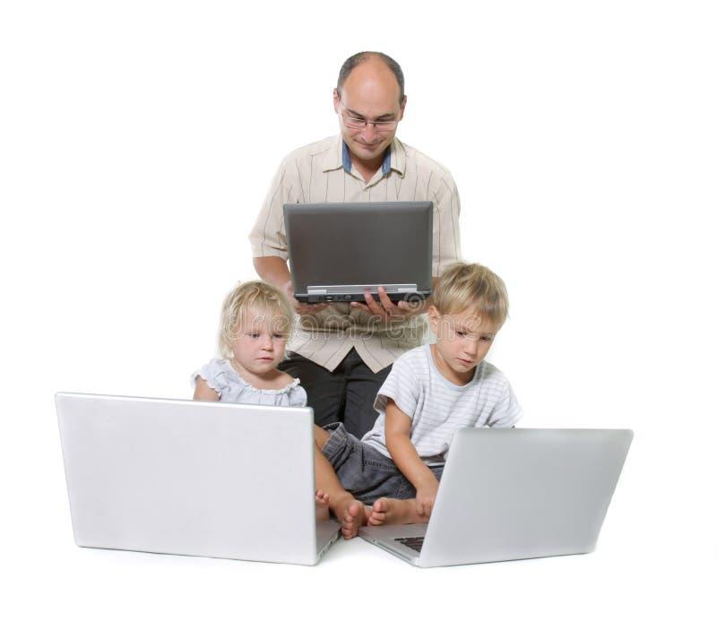 Famiglia Di Calcolatore Immagini Stock