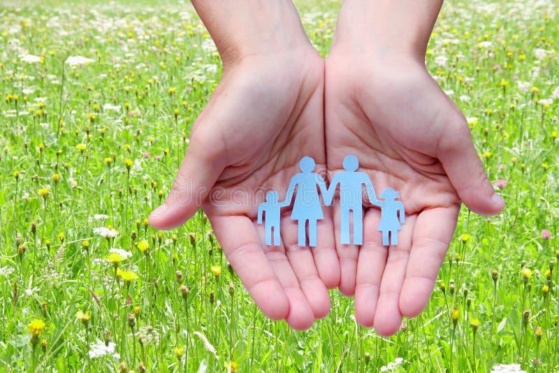 Famiglia di carta in mani sul concetto verde di assistenza sociale del fondo del prato immagine stock libera da diritti