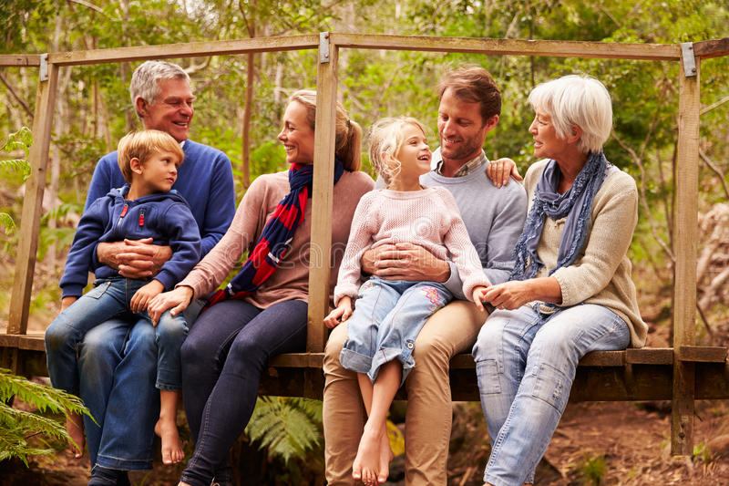 Famiglia di diverse generazioni che parla su un ponte in una foresta fotografia stock libera da diritti