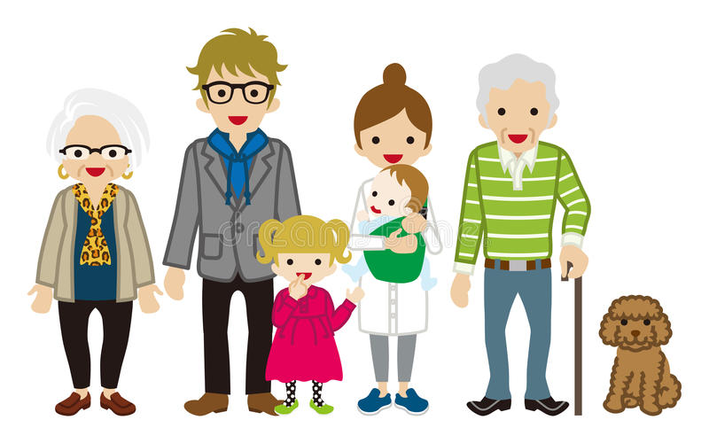 Famiglia di diverse generazioni - nonno della canna illustrazione vettoriale