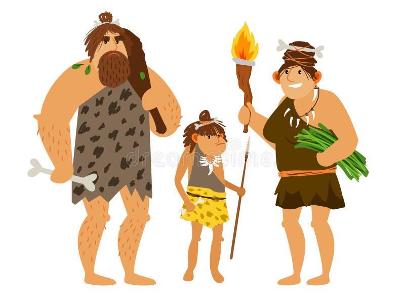 Famiglia di età della pietra royalty illustrazione gratis