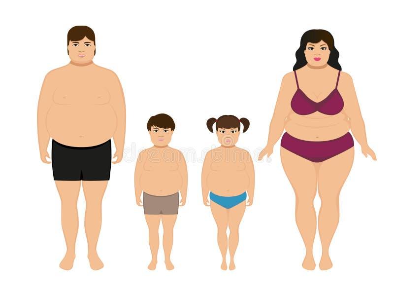 Famiglia di peso eccessivo grassa felice del fumetto di vettore royalty illustrazione gratis