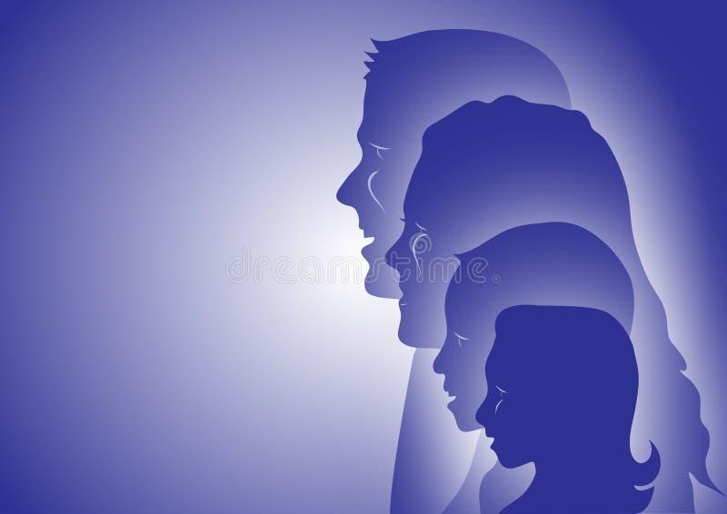 Famiglia di quattro illustrazione vettoriale
