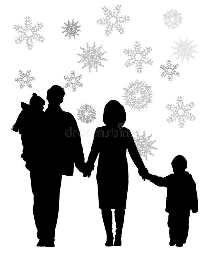 Famiglia di quattro di inverno illustrazione di stock