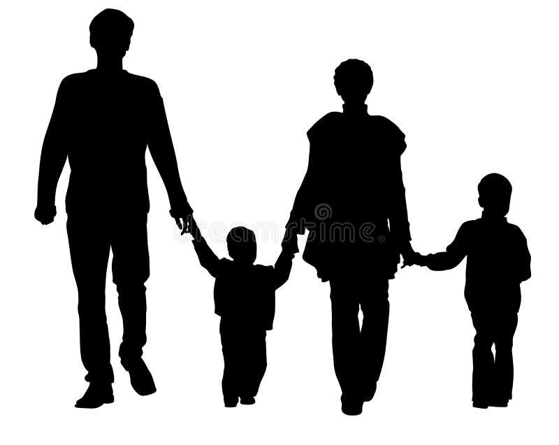 Famiglia di quattro di vettore royalty illustrazione gratis