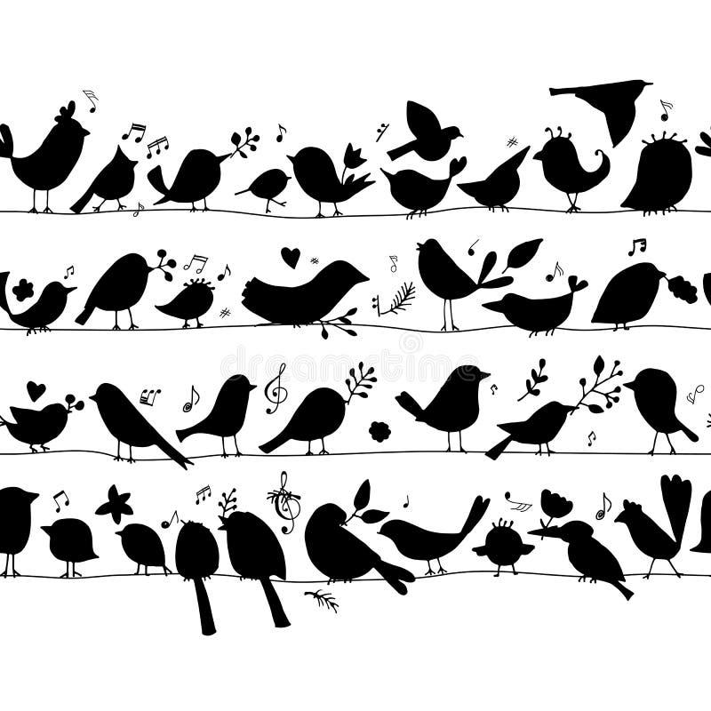 Famiglia di uccelli, modello senza cuciture per la vostra progettazione illustrazione di stock