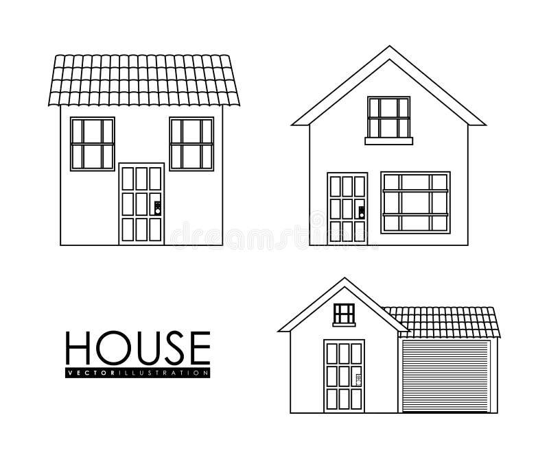Famiglia domestica Camera con la porta e le finestre Progettazione della siluetta illustrazione vettoriale
