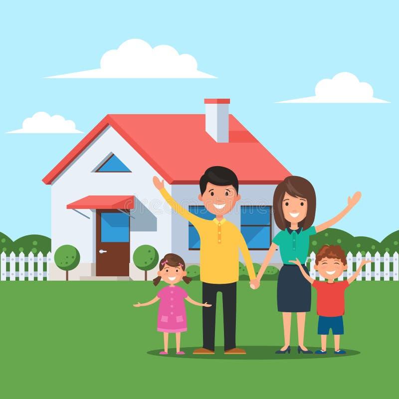 Famiglia E Casa Felici Illustrazione Vettoriale