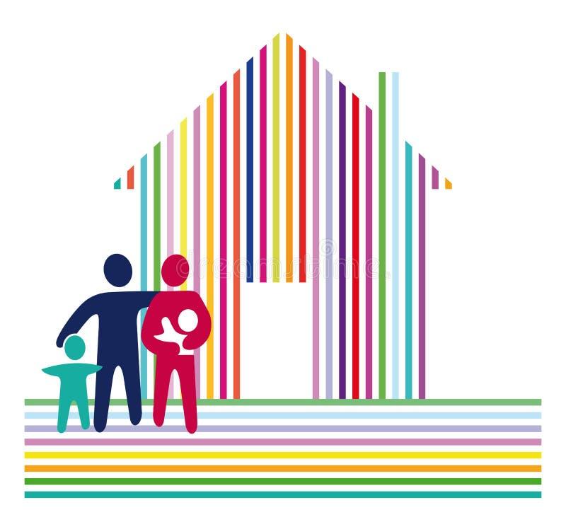 Famiglia e casa a strisce royalty illustrazione gratis