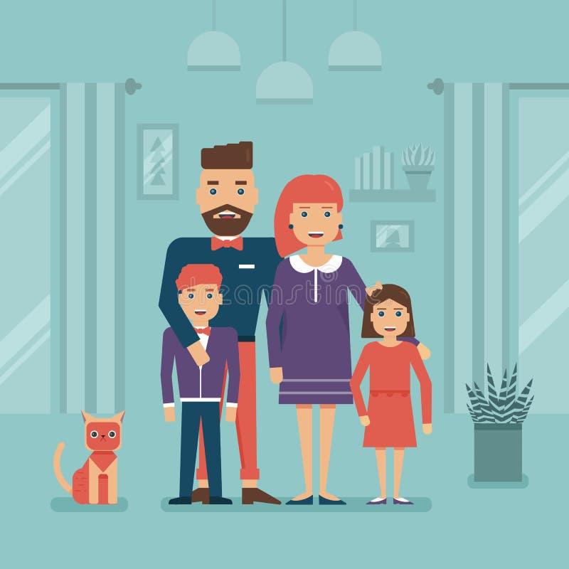 Famiglia e Cat Staying felici a casa illustrazione vettoriale