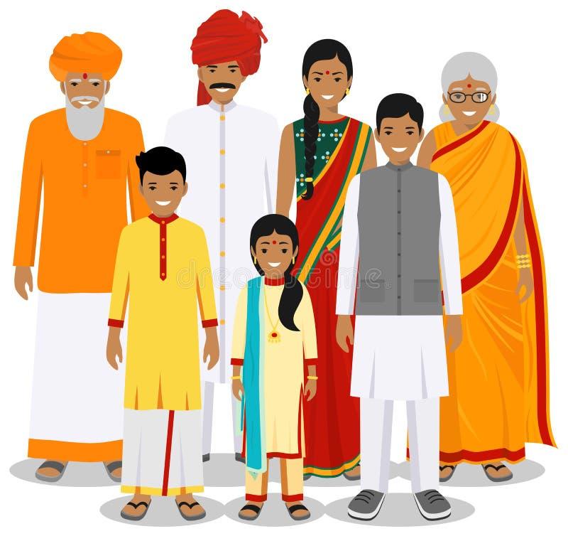 Famiglia e concetto del sociale Generazioni indiane della persona alle età differenti Metta della gente in vestiti nazionali trad illustrazione di stock