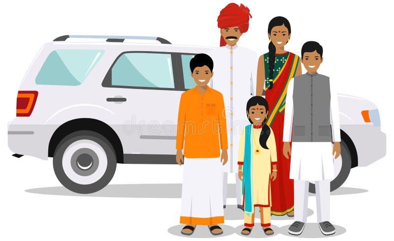 Famiglia e concetto del sociale Generazioni indiane della persona alle et? differenti Metta della gente in vestiti nazionali trad illustrazione vettoriale