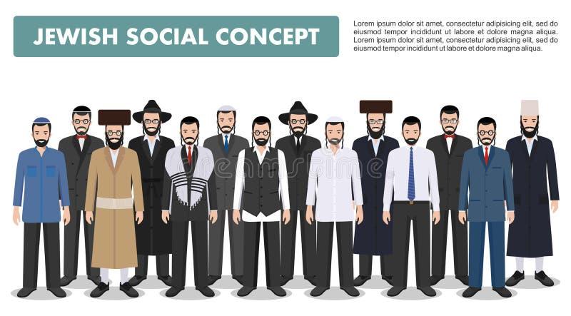 Famiglia e concetto del sociale Raggruppi gli uomini ebrei degli adulti che stanno insieme in vestiti tradizionali differenti nel illustrazione di stock