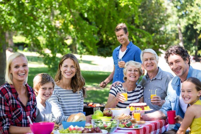 Famiglia ed amici che hanno un picnic con il barbecue fotografia stock