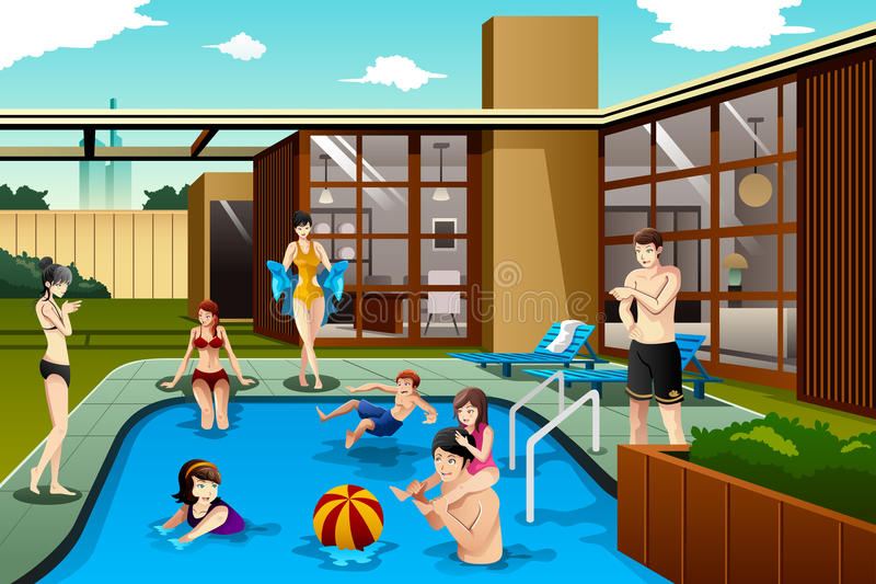 Famiglia ed amici che spendono tempo nella piscina del cortile illustrazione di stock