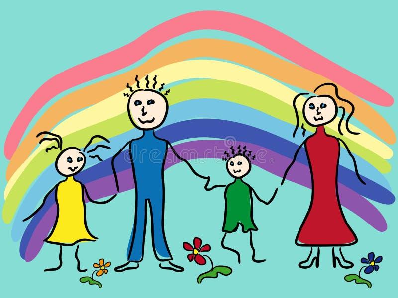 Famiglia ed arcobaleno illustrazione vettoriale
