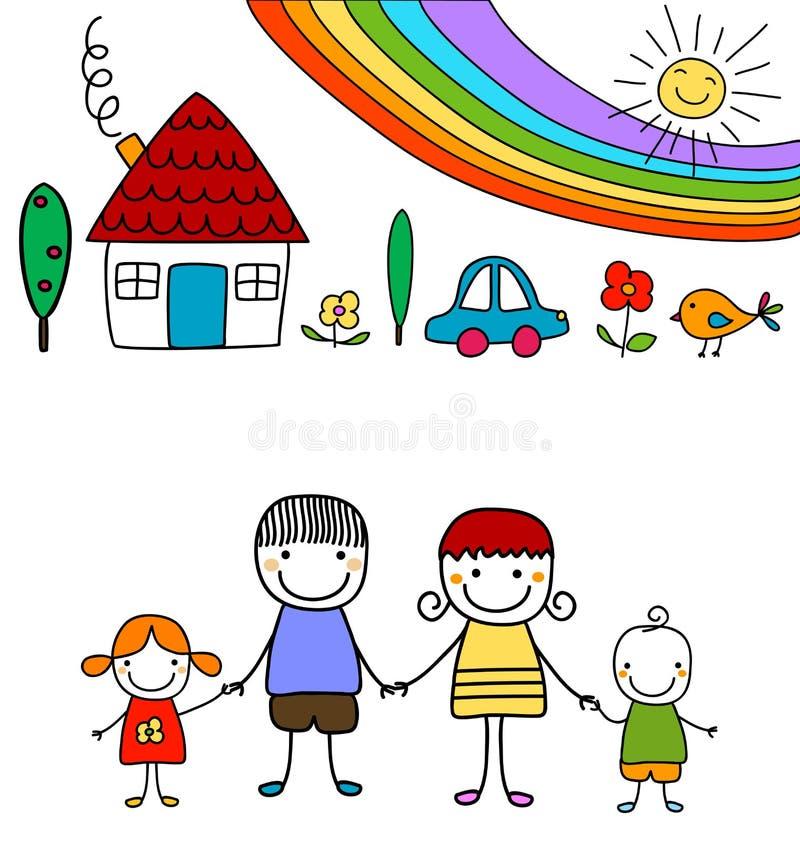 Famiglia ed arcobaleno felici illustrazione di stock