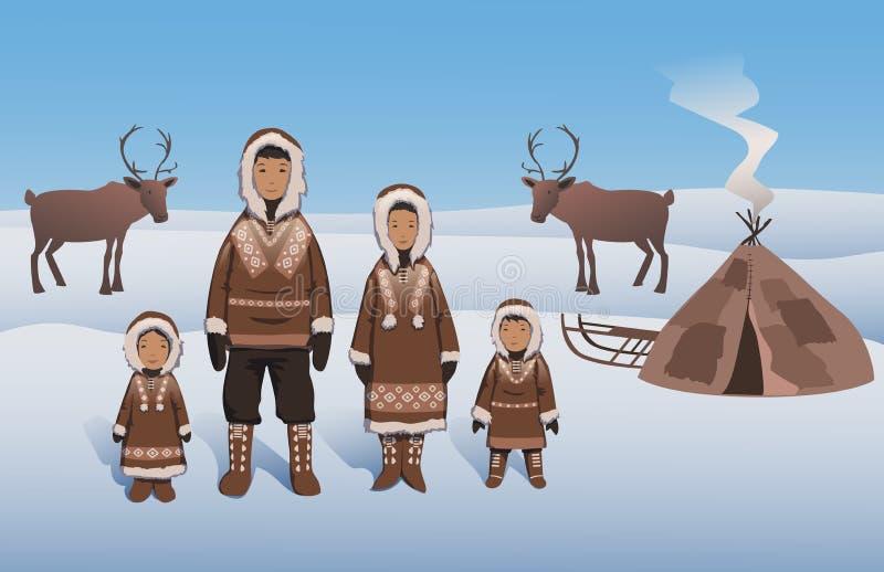 Famiglia eschimese in attrezzatura tradizionale che fa una pausa capanna inuit Eschimesi e cervi sul paesaggio del Nord Vettore p illustrazione vettoriale