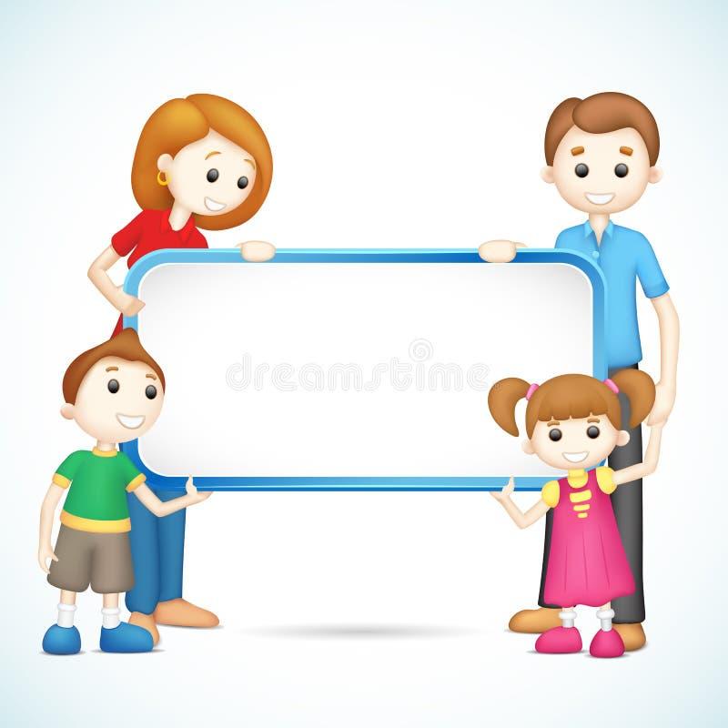 Famiglia felice 3d nel cartello della holding di vettore illustrazione di stock