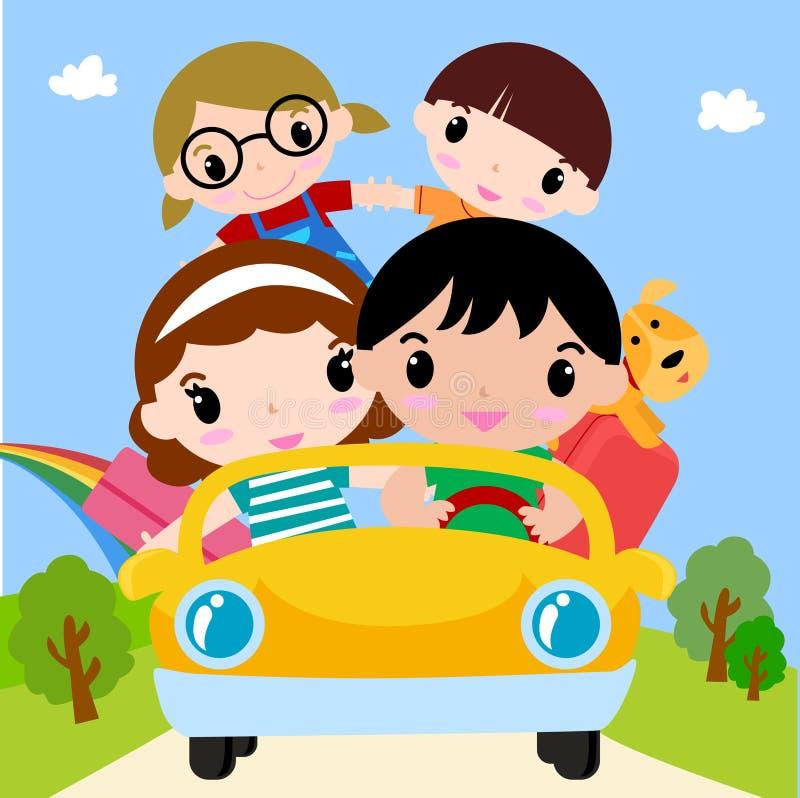 Famiglia felice in automobile sulla vacanza illustrazione vettoriale