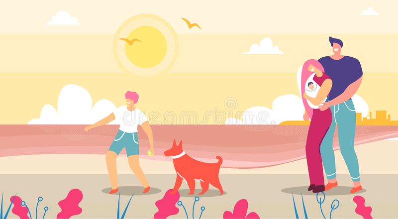 Famiglia felice che cammina e che spende tempo sulla natura illustrazione vettoriale