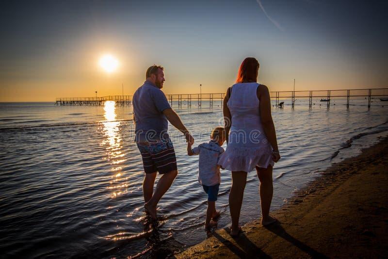 Famiglia felice che cammina sulla riva immagini stock libere da diritti