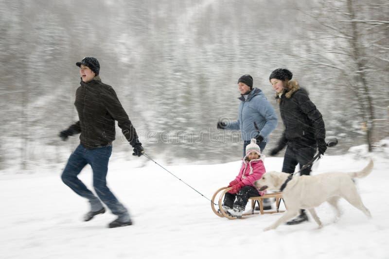 Famiglia felice che gioca sull'inverno fotografie stock libere da diritti