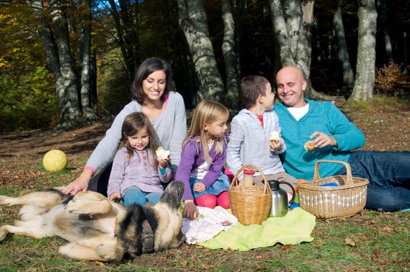 Famiglia felice che ha picnic fotografia stock libera da diritti
