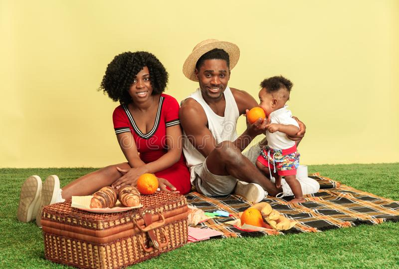 Famiglia felice che ha picnic allo studio fotografia stock