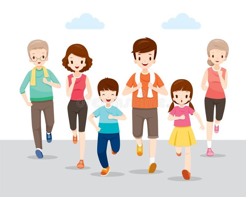 Famiglia felice che mantene insieme per i buona salute illustrazione vettoriale