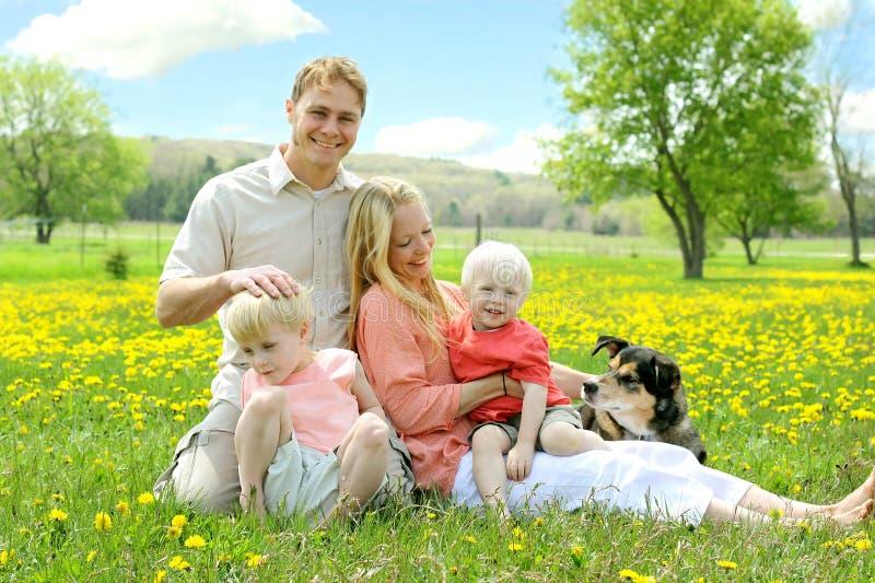 Famiglia felice che si rilassa fuori nel campo dei fiori con il cane immagine stock