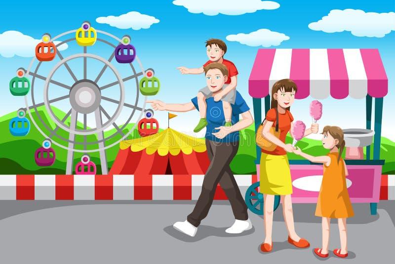 Famiglia felice che va su una vacanza royalty illustrazione gratis