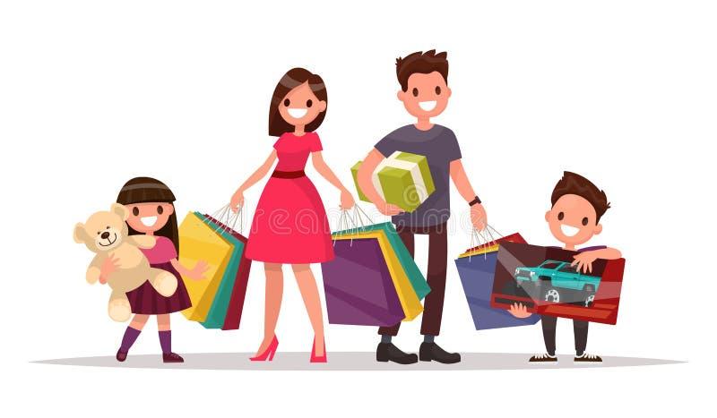 Famiglia felice con acquisto La madre, il figlio e la figlia del padre sono illustrazione di stock
