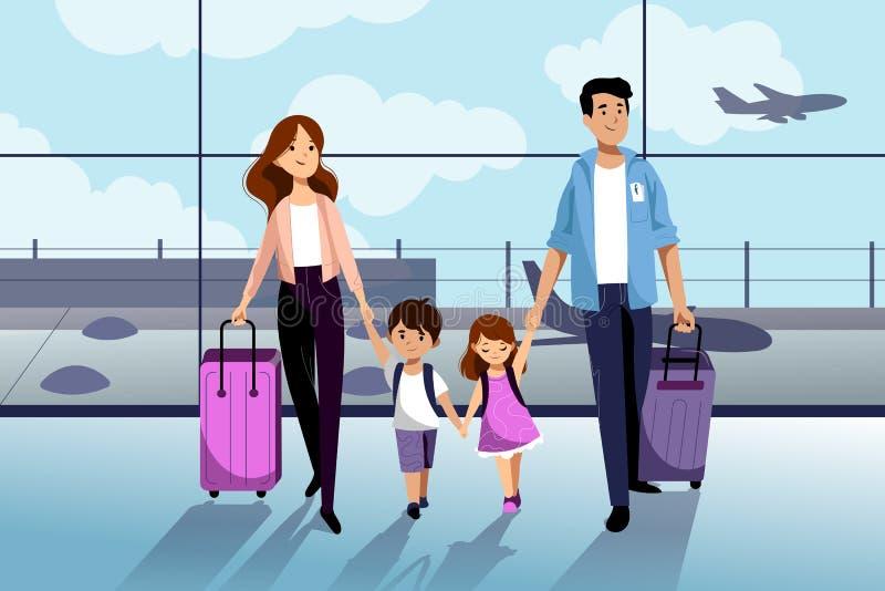 Famiglia felice con due bambini che vanno alle loro vacanze estive Viaggio della famiglia in aeroplano Illustrazione piana del fu illustrazione vettoriale