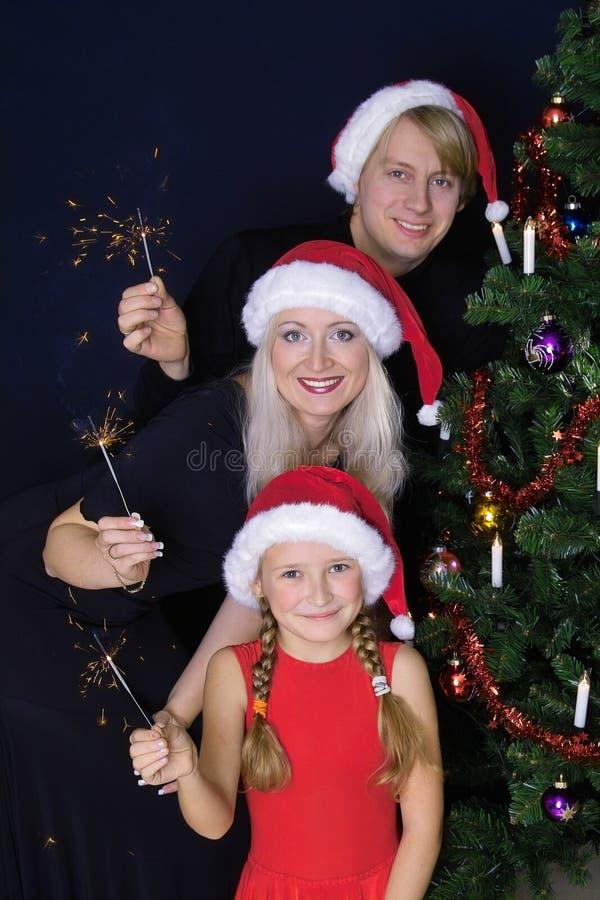 Famiglia Felice Con Gli Indicatori Luminosi Fotografie Stock Libere da Diritti