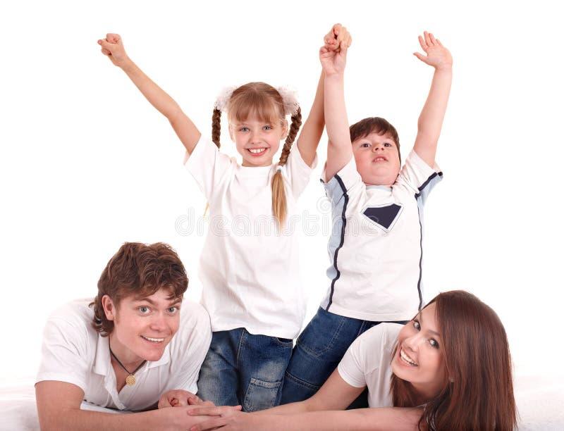 Famiglia felice con i bambini. fotografia stock
