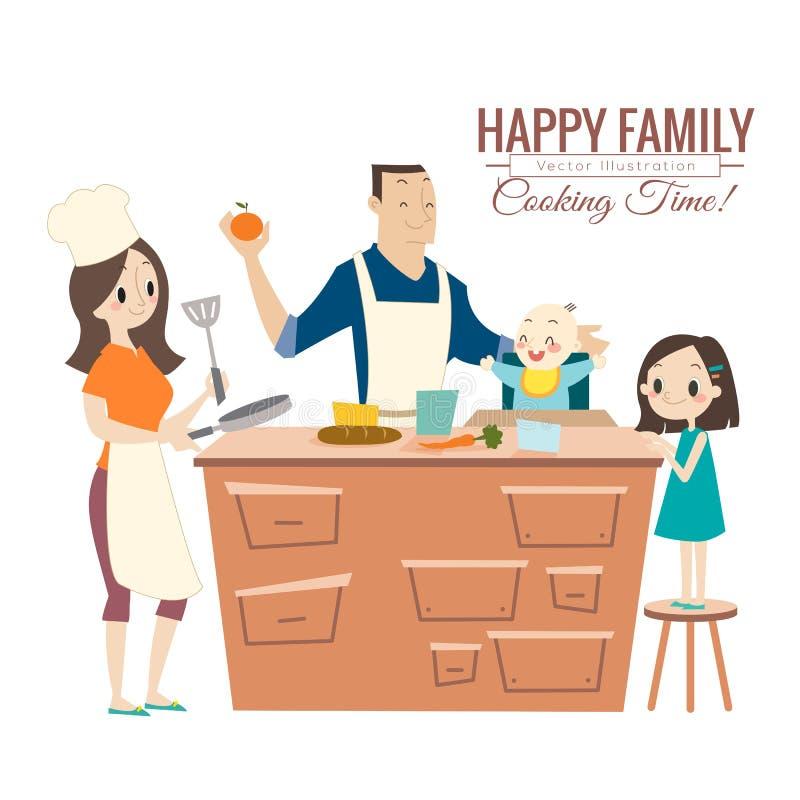 Famiglia felice con i genitori ed i bambini che cucinano nella cucina illustrazione vettoriale