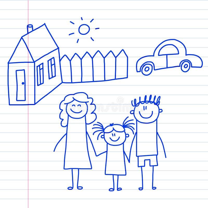 Famiglia felice con i piccoli bambini ed i bambini della casa che disegnano immagine blu della penna dell'illustrazione di vettor illustrazione vettoriale