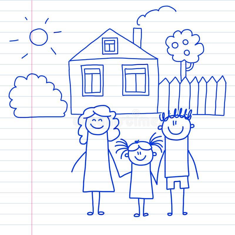 Famiglia felice con i piccoli bambini ed i bambini della casa che disegnano immagine blu della penna dell'illustrazione di vettor royalty illustrazione gratis