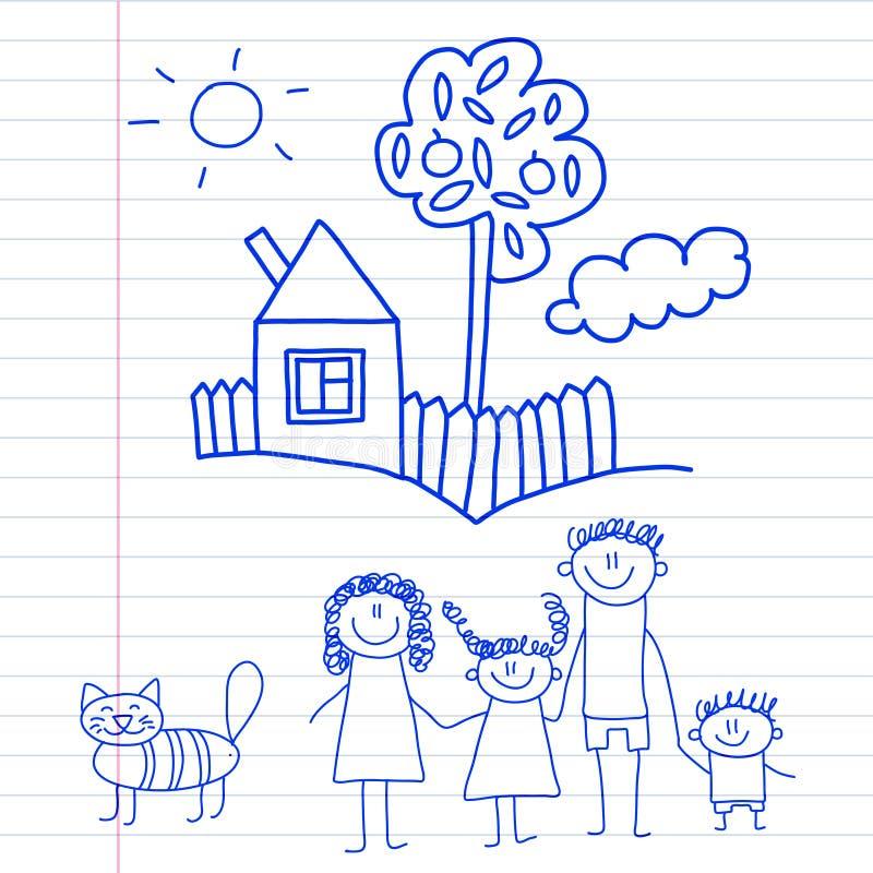 Famiglia felice con i piccoli bambini ed i bambini della casa che disegnano immagine blu della penna dell'illustrazione di vettor illustrazione di stock