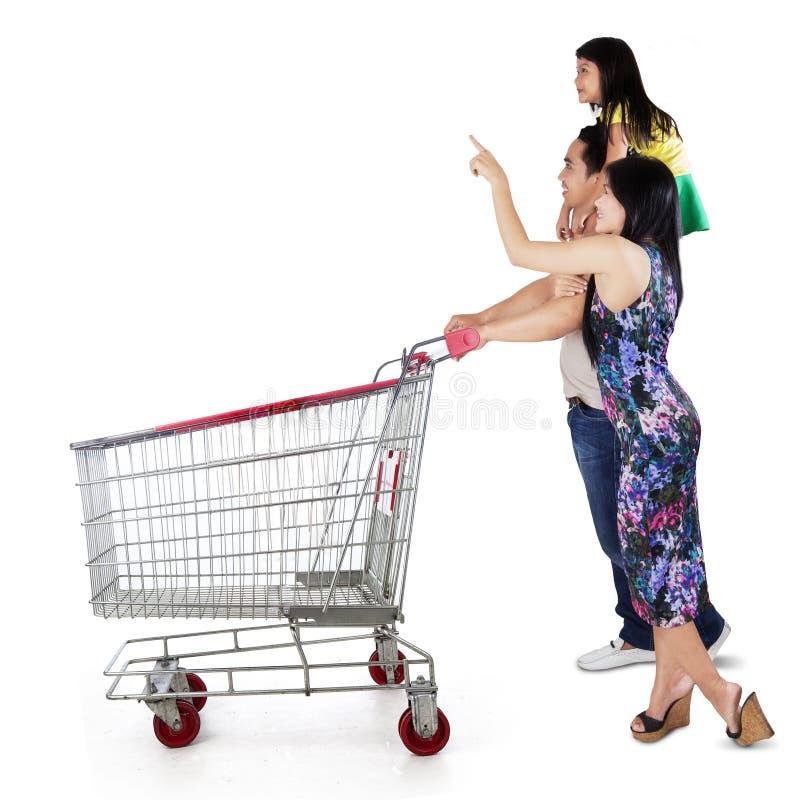 Famiglia felice con il carrello di acquisto immagini stock