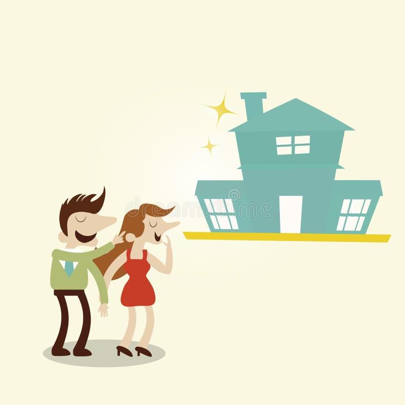 Famiglia felice con la nuova casa illustrazione di stock